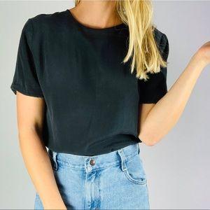 Vintage Black Silk ShortSleeve Crewneck Blouse